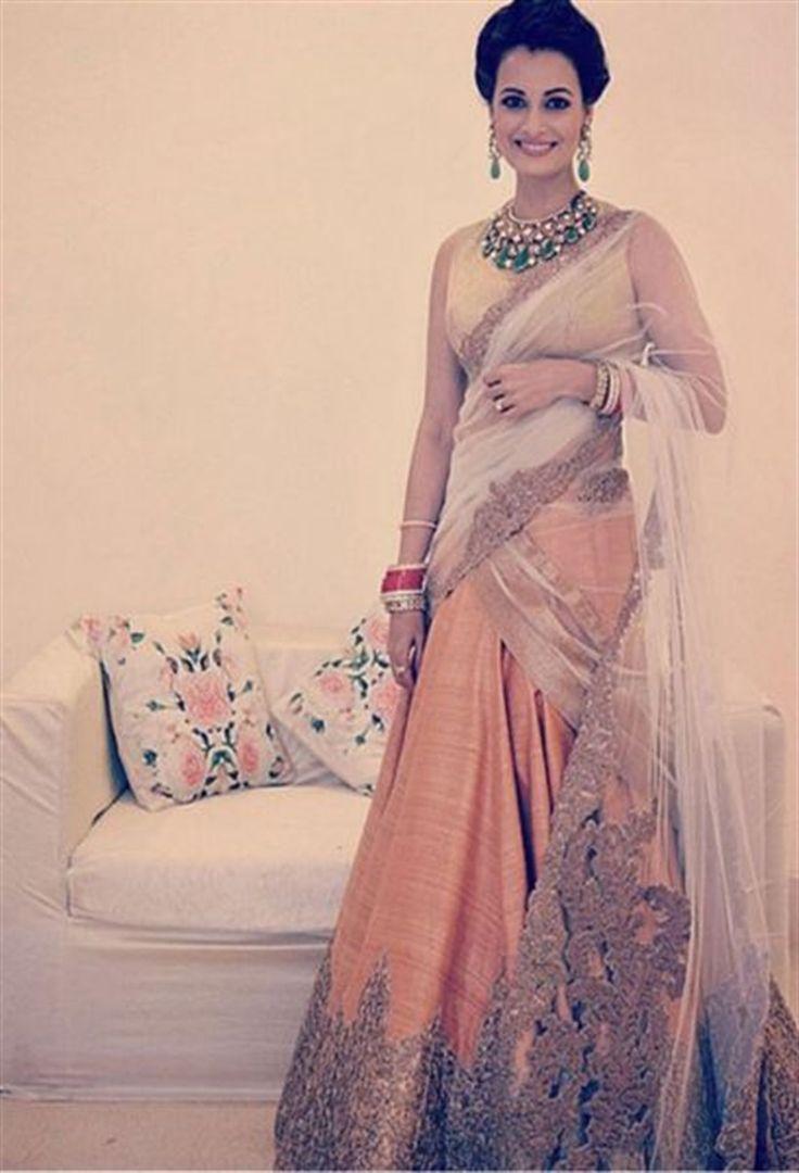 dia mirza wedding reception dress