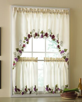 Vineyard Kitchen Embroidered Grapes Cafe Curtain Set