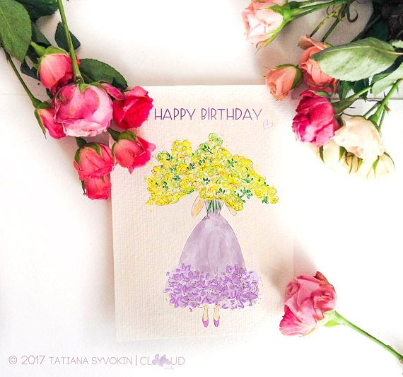 birthday card greeting cards birthday cards for her happy birthday cards handmade birthday card flowers in a card flower card lilac yellow