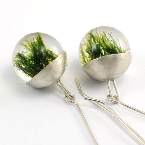 Silver Resin Earrings Moss Resin Earrings by sisicata on Etsy, $80.00