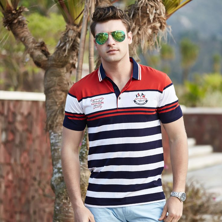 New Shark polo shirt men European American style Tace Shark brand mens polo homme striped business casual. Click visit to buy