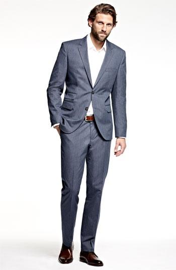 BOSS Black 'Sweet Sharp' Blue Stripe Suit