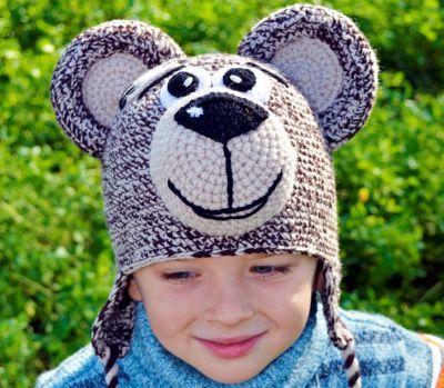 Детская прикольная шапочка медведь тедди купить веселые зверошапки с ушками Магазин Смешапки Россия Екатеринбург