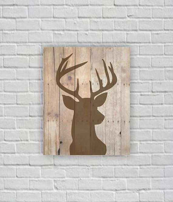 instant download deer head silhouette deer head wooden boards deer head printable wall art. Black Bedroom Furniture Sets. Home Design Ideas