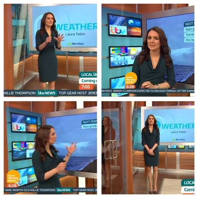 Laura Tobin 5'4 wearing Jeetly Miranda dress on British TV Breakfast Show GMB