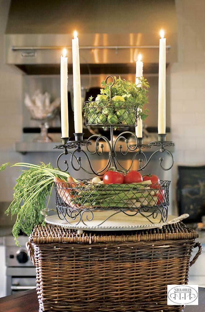 Nice Kitchen Island Centerpiece Ideas #10: Fresh Veggies Make A Splendid Kitchen Island Centerpiece.