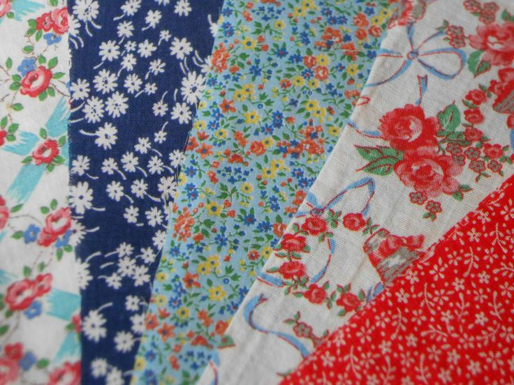 Floral Designs Vintage Feed Sack and Calico Fabric Lot by perfectmomentpillows