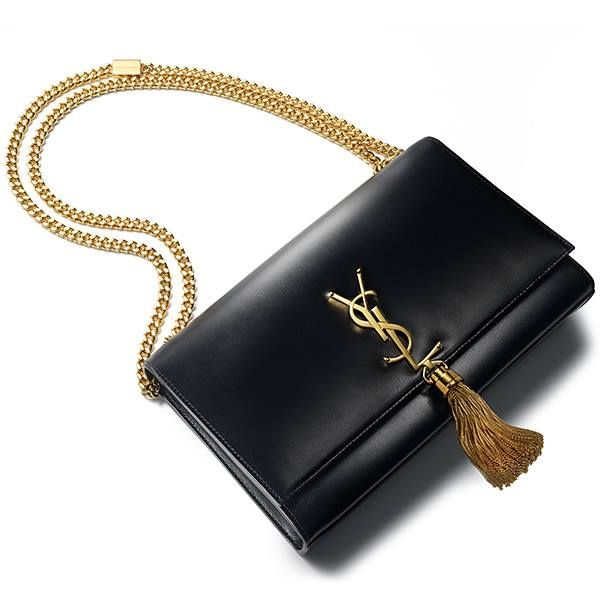 Black leather shoulder #bag with YSL gold details by Saint Laurent ...