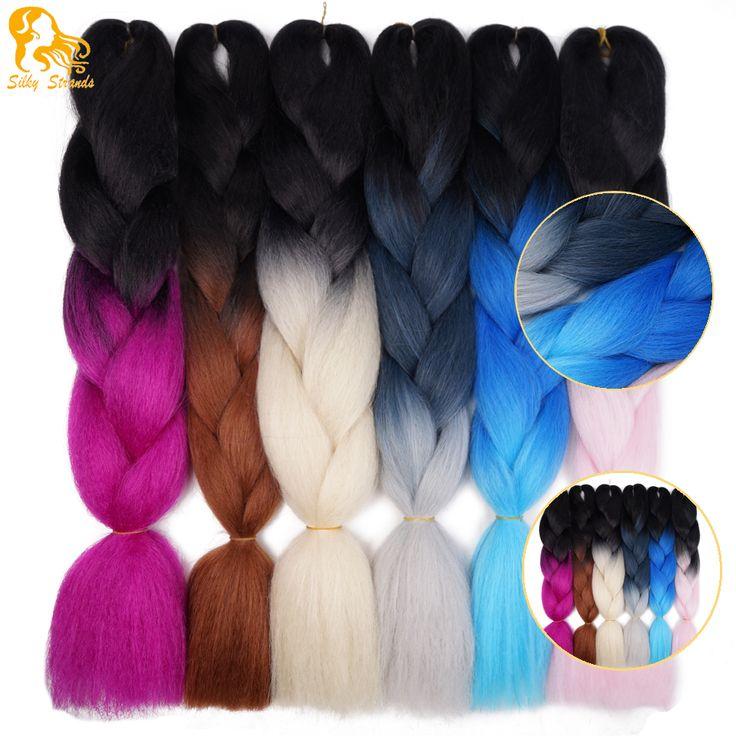 オンブルカネカロンジャンボ編組髪色24 'アフリカ合成オンブル黒ライトグレー二つトーン編組ヘアスタイル