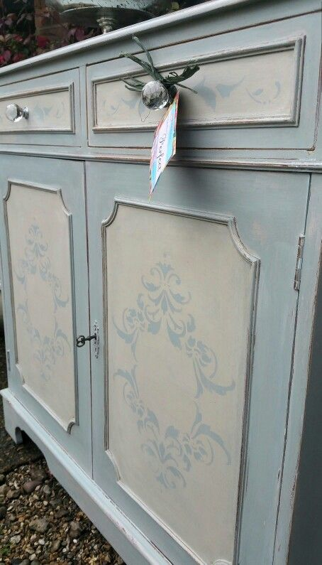 Shabby chic french stencilled duck egg cabinet in Annie Sloan chalk paints, by Imperfectly Perfect xx