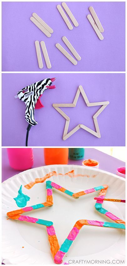 Mini popsicle stick stars - fun craft for kids to make! | CraftyMorning.com