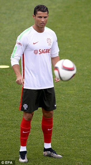 Ronaldo goes through his paces in Portugal training for the Armenia fixture...