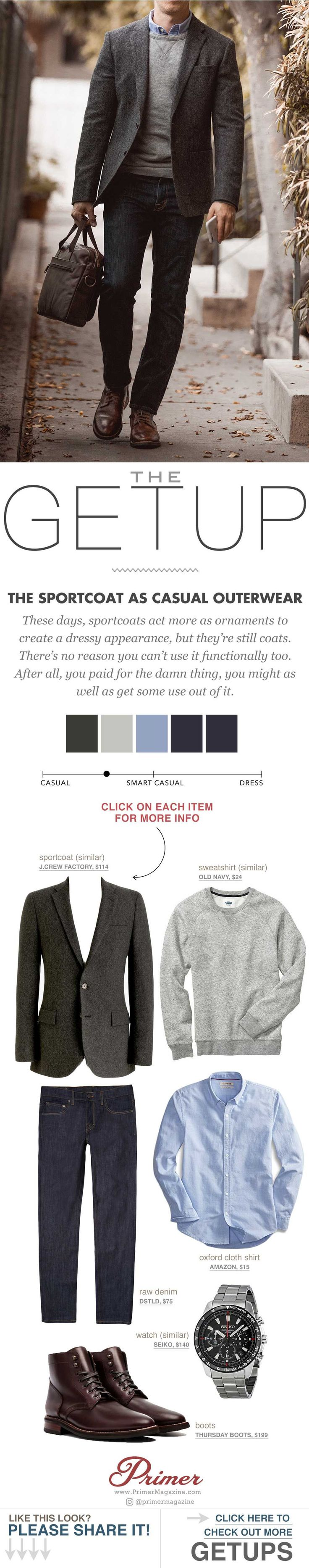 Primer Magazine: Live Action Getup: The Sportcoat as Casual Outerwear #menfashioncasual,