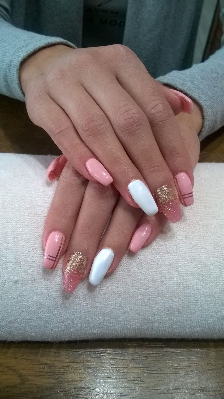 pink gel, pink and gold stripes and pink and gold glitter