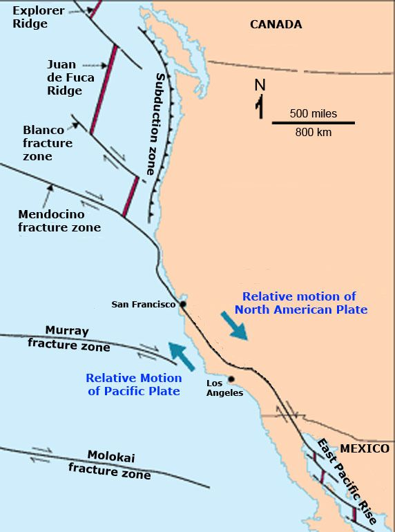Map of the modern San Andreas Fault in relation to the greater plate-tectonic setting of western North America and the northeastern Pacific