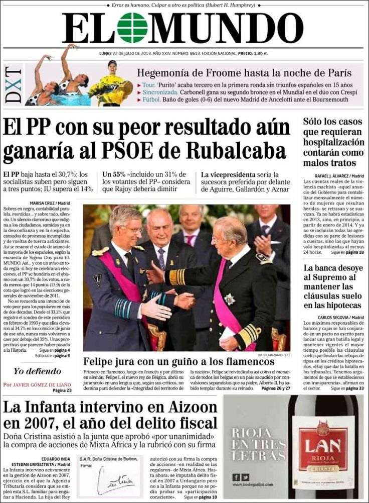 Los Titulares y Portadas de Noticias Destacadas Españolas del 22 de Julio de 2013 del Diario El Mundo ¿Que le pareció esta Portada de este Diario Español?