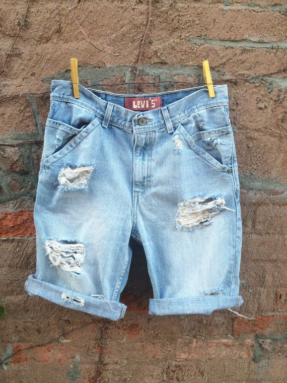 Mens LEVIS Jean Shorts Distressed Denim Cutoffs Shorts Mens Shorts  on Etsy, $34.00