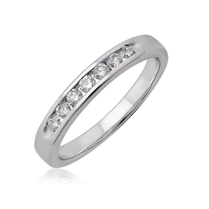 Unique k White Gold Stone Channel Set Diamond Wedding anniversary Band Ring