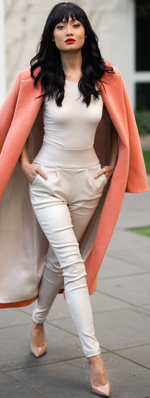 Orange Coat white top, trousers. fall autumn women fashion outfit clothing style apparel @roressclothes closet ideas