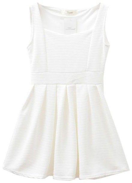 $10, White Skater Dress: ChicNova Sleeveless Skater Dress. Sold by ChicNova. Click for more info: https://lookastic.com/women/shop_items/171132/redirect