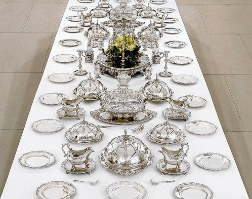 The Leinster Dinner Service is the grandest & the most complete surviving aristocratic service. Made by London royal goldsmith George Wickes in 1745-1746 for James FitzGerald, 20th Earl of Kildare, later 1st Duke of Leinster (1722-1773). The service contains over 5,000 ounces of silver & cost over 4,000 pounds. The service comprises 70 dinner plates, 18 soup plates, 29 dishes, 22 dish covers, four candlesticks, 11 salvers, eight sauceboats, etc and an elaborate epergne (table centrepiece).