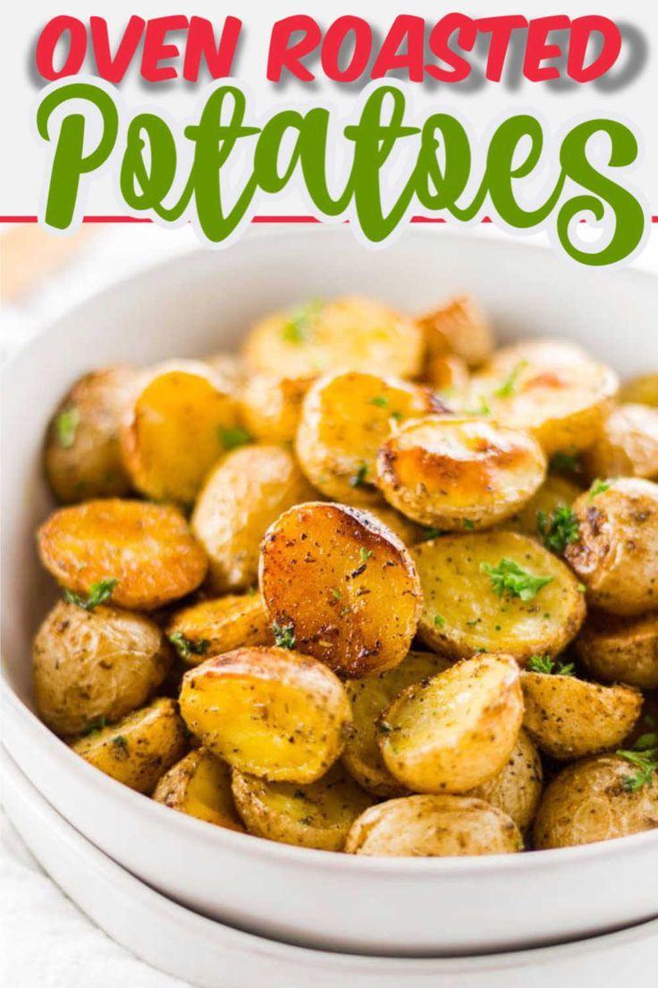 Oven Roasted Potatoes Honey Gold Crispy Skin And Delish Recipe In 2020 Oven Roasted Potatoes Roasted Potato Recipes Vegetarian Side Dish Recipes
