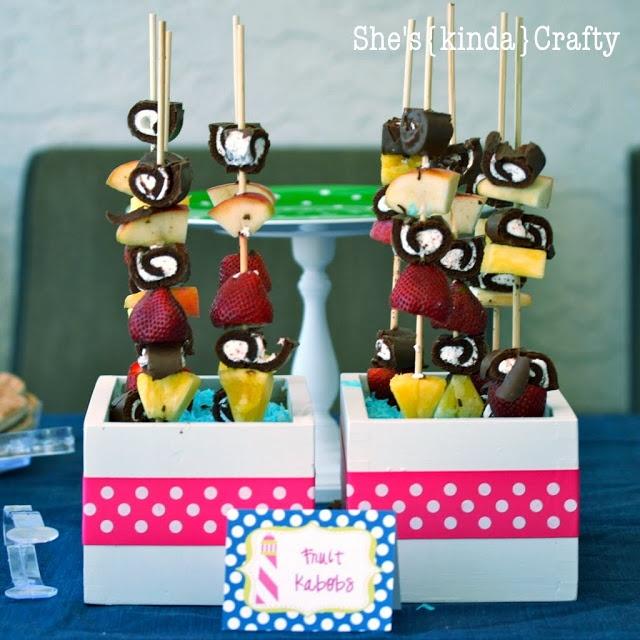 She's {kinda} Crafty: Polka Dotty Pool Party - {Food Table}