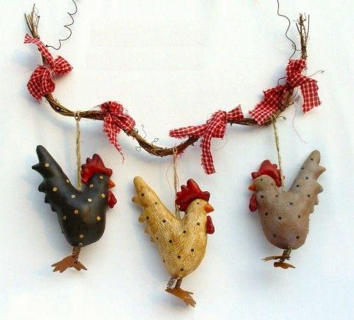 Rote Ostereier basteln hühner girlande kette