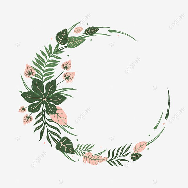 Round Frame Of Tropical Leaves And Flowers Tropical Leaf Frame Png And Vector With Transparent Background For Free Download Di 2021 Bingkai Bunga Poster Bunga Bunga