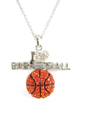 I Love Basketball Necklace. i want this for my birthday!!!