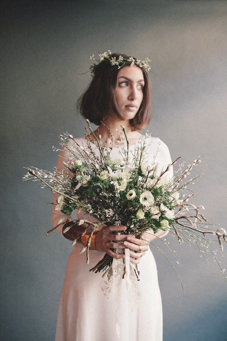 Wild & whimsical bouquet. White anemones, pussy willow, genista, magnolia branch.