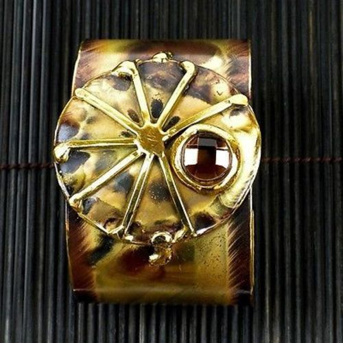 Crystal Sunburst Brass Cuff - Brass Images (C)