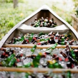 Canoe cooler: Outdoor Wedding, Old Boats, Boats Drinks, Drinks Coolers, Adult Beverages, Outdoor Parties, Cool Ideas, Canoeing Coolers, Events Plans