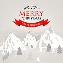 Пригласительная открытка с поздравительным текстом С Рождеством и Новым Годом на фоне горный вершин покрытых снегом, елей и горных баранов.