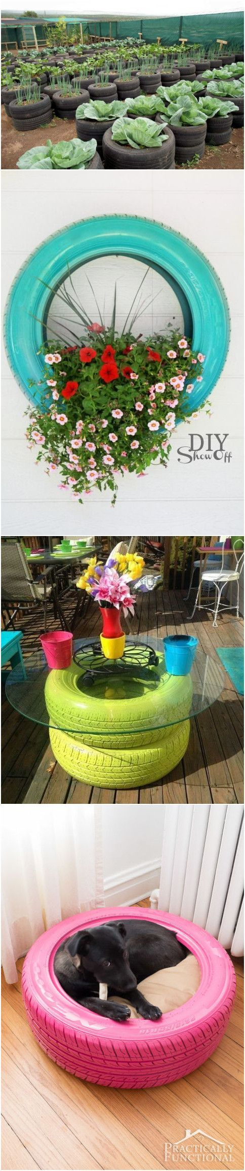 Raised garden beds out of old tires