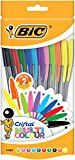 BIC Cristal Multicolor - Bolsa de 20 bolígrafos con 10 colores distintos, dos de ellos fluorescentes