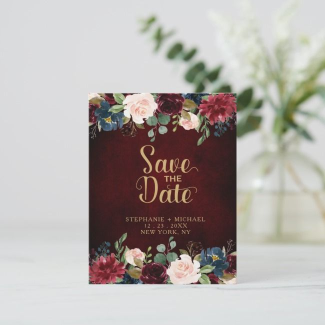Burgundy Red Navy Floral Rustic Boho Save the Date Announcement Postcard | Zazzle.com