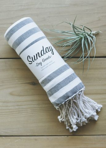 Sunday Dry Goods - The Saturday Stripe Towel, Charcoal
