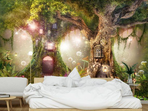 Wallpaper Magical Forest Nursery Magic Tree Fairy Tale Fairytale Forest Vinyl Or Self Adhesive Fairytale Bedroom Forest Theme Bedrooms Fairy Bedroom