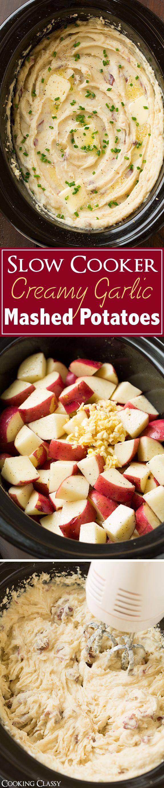 Slow Cooker Creamy Garlic Mashed Potatoes - So easy to make, so creamy, so delicious!