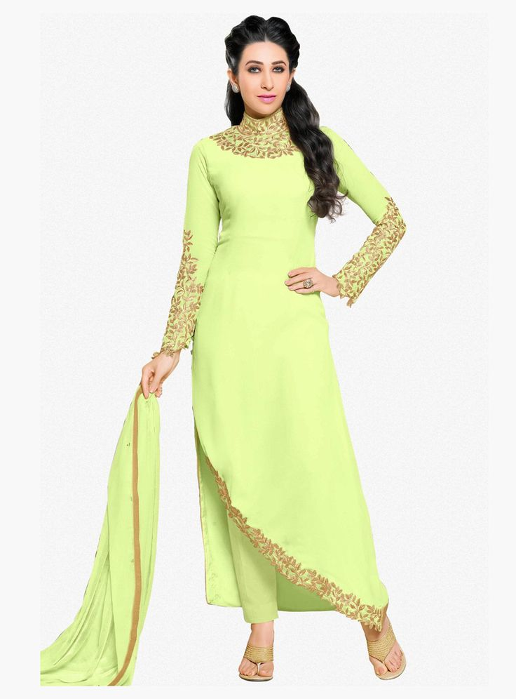 Karisma Kapoor Light Green Georgette Designer Pant Style Suit 87944