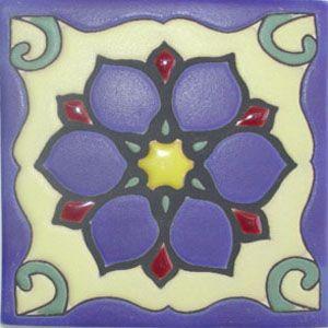 Mexican Cuerda Seca Tile handcrafted rvl 139