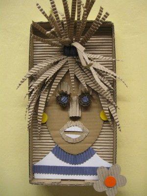 Ribkarton, doos en restjes gekleurd papier (ev. uit tijdschriften geknipt) Plastický obraz hlavy - z kartonu a vlnité lepenky