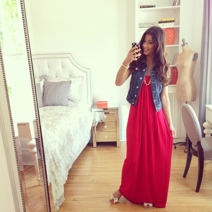 Denim vest maxi dress outfits
