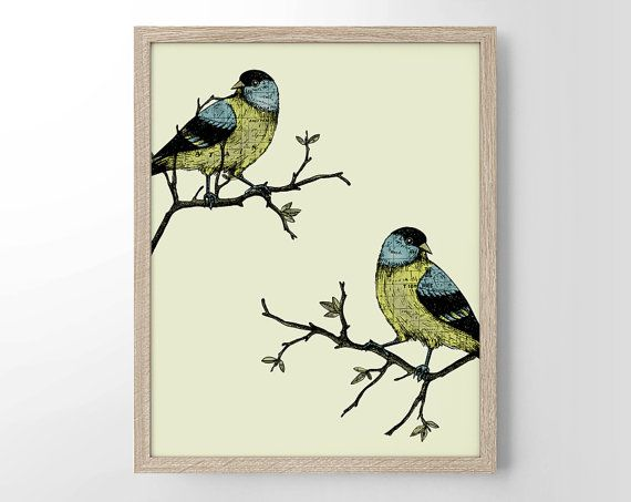 Two Birds On Branches Minimalist Art Home Decor by StayGoldMedia