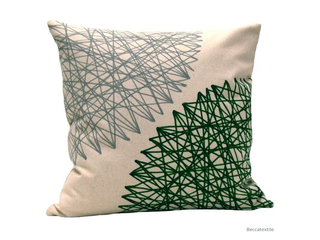 earthy colors on dawanda.com Cushions & pillows – Pillow cover green and grey - geometric print – a unique product by beccatextile on DaWanda