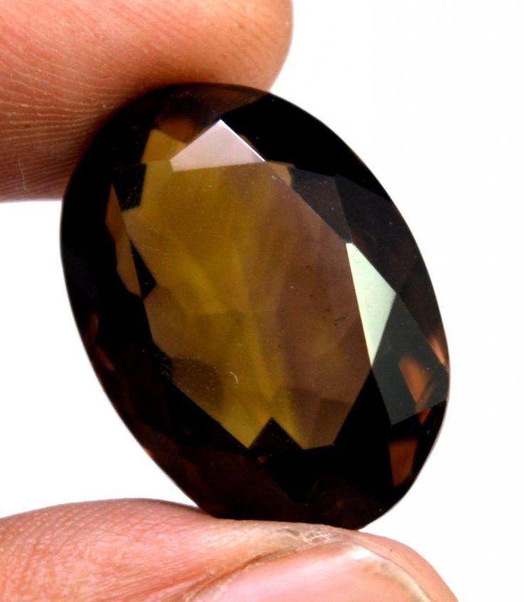 29ct VS Quality Big Natural Oval Cut Smokey Quartz Loose Gemstone For Pendant #krishnagemsnjewels