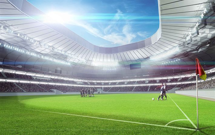 Download wallpapers football stadium, stands, sports arena, football concepts, 4k, green lawn