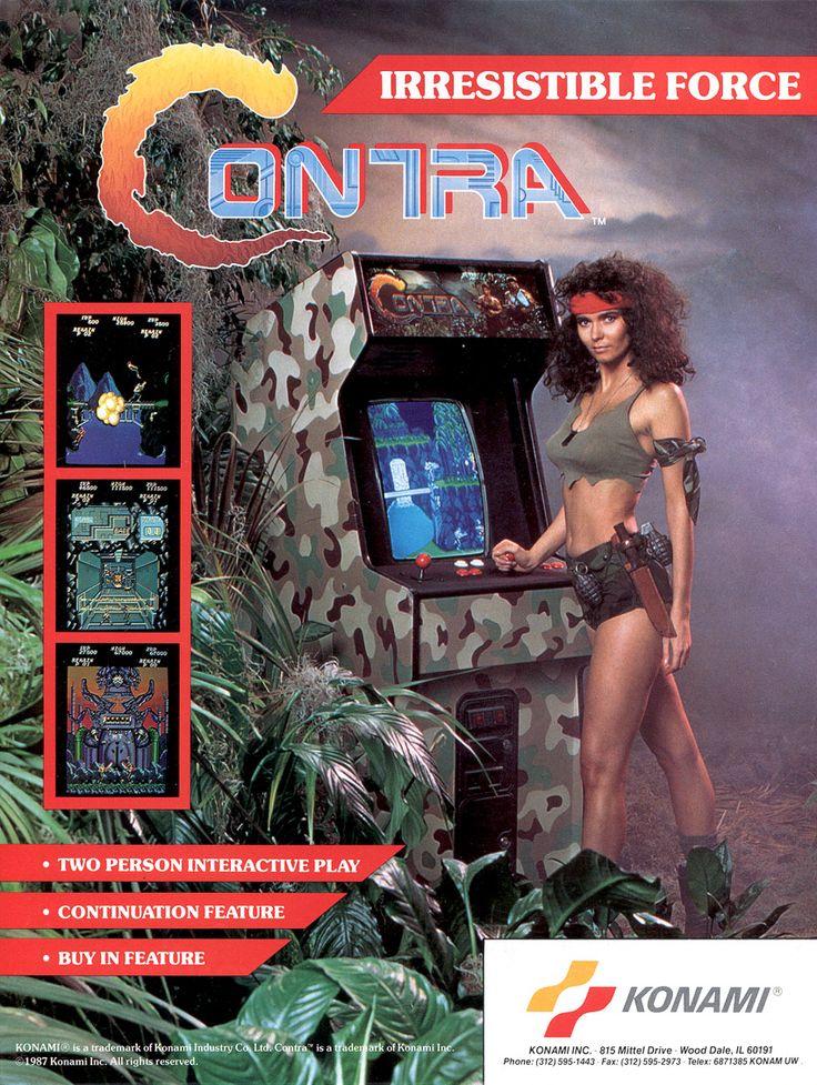 Contra // Konami, 1987 (USA) #flyer #art #arcade #sexy #girl #retro #games