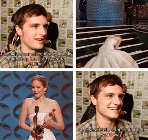 I find it weird, cute and funny that josh actually thought that jen would really tripped in the stairs ahaha he really know her so well...